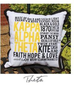 Kappa Alpha Theta pillow.