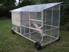 Gracie this one is on wheels.   PVC Chicken coop.  A lot of great ideas and design aspects included, especially the wheels.