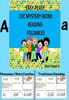 """The purpose of the tri-folded cards:to make reading fun and successful by tackling the challenge in parts...not as an overwhelming whole. Words in this set follow the CVC pattern and have only vowel """"a"""".2 ways to read the words are presented: by blending the individual letter sounds in sequence or by combining a consonant sound with a sound-spelling(word families). Sound-spellings presented are ab, ad, ag, am, an, ap, at. Also,posters (anchor charts), worksheets,suggestions for teachin"""