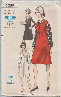 Vogue 6359 / Vintage 60s naaien patroon / Jumper Blouse jurk / Size 16 buste 36