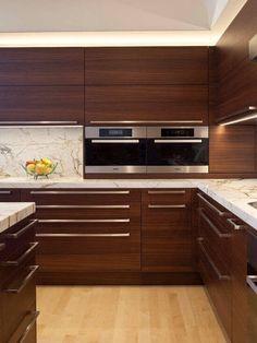 Modern Kitchen Interior Kitchen - Modern sleek kitchen with marble counter top/back splash wood finishes.very chic. Kitchen Room Design, Kitchen Cabinet Design, Modern Kitchen Design, Home Decor Kitchen, Rustic Kitchen, Interior Design Kitchen, New Kitchen, Home Kitchens, Kitchen Ideas