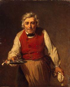 Possible Bartender Look Servant with a Tray Museum:Hermitage Museum Artist:Verheyden Francois, Origin: Belgium, 1852