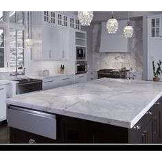 Badass kitchen with white granite countertops