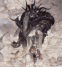 Final Fantasy I - Cloudsea Djinn - Yoshitaka Amano Final Fantasy Iv, Final Fantasy Artwork, Fantasy Concept Art, Fantasy Series, Art And Illustration, Yoshitaka Amano, Fantasy Kunst, Fan Art, Japanese Artists