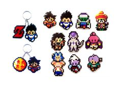Dragon Ball Sprites. Keychains magnets by FreakCreations on Etsy