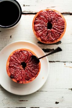 Broiled Grapefruit: 1 ripe grapefruit, halved, 2 tbsp brown sugar, 1/4 tsp cinnamon       In a small bowl, mix together the brown sugar and spices. Spread evenly over the top of the halved grapefruits. Place the baking sheet on the top shelf of the oven and broil the grapefruits for 4-6 minutes