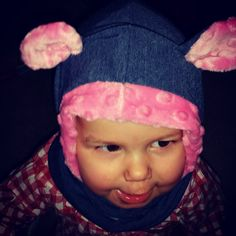 Cute little teddybear! We all love minky hats, these ones with ears must be the best thing there is! =)