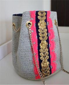 BALLAD Bucket Bag - FREE Shipping, Handmade, Boho, Fashion, Neutral, Trimmings, Ethnic from Dubai UAE based RAW online store at Little Majlis (www.RAW.littlemajlis.com)
