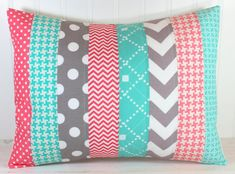 Nursery Cushion Cover - Pillow Cover - 12 x 16 Inches - Coral Pink, Teal Blue and Gray Chevron on Etsy, $22.50