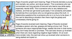 Upright and reversed tarot card meaning for page of swords