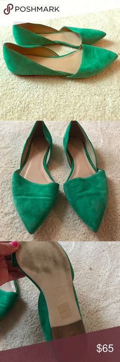 J. Crew green flats Size 8 1/2 green pointy flats in great condition J. Crew Shoes Flats & Loafers
