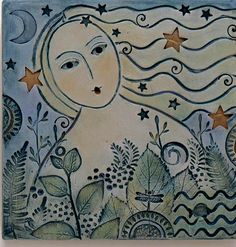 Hand painted clay tile by Sue Davis, Fort Wayne, Indiana.