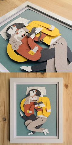 La Siesta - Papercraft couple napping with cat by Jotaká