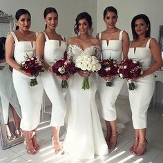 Simple Cheap Unique White Off Shoulder Straight V Neck Sexy Tea Length Bridesmaid Dresses, WG126 The short bridesmaid dresses are fully lined, 4 bones in the bodice, chest pad in the bust, lace up bac