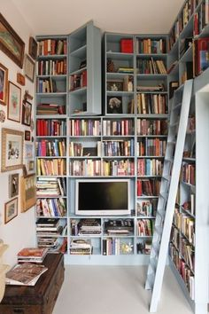 Ive always wanted a house with secret passageways and a library us perfect for that. How bout a book nook with secret passages to more book nooks? Bookcase Door, Bookcases, Library Bookshelves, Library Ladder, Ladder Bookshelf, Blue Bookshelves, Bookshelf Storage, Wall Shelving, Bookshelf Ideas