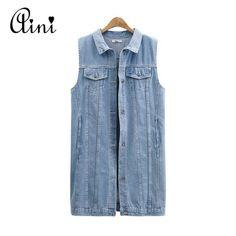 Low Price $16.65, Buy Denim Vests 2017 Spring Women Ripped Medium-Long Summer Waistcoat Turn-down Collar Coat Sleeveless Denim Jacket Plus Size 5XL