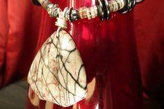 Womens Necklace Handmade Jewelry Jasper Hematite by JewelActs, $69.00