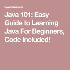 Java 101: Easy Guide to Learning Java For Beginners, Code Included!