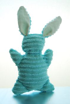 Upcycled Chenille Stuffed Bunny $12