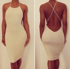 dress white midi backless