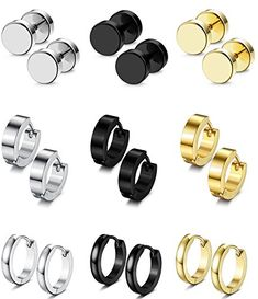 a7bc9ca67 FIBO STEEL 9 Pairs Stud Earrings Hoop Earrings Set for Men Women Stainless  Steel Earring 18G