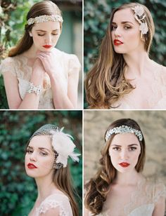 White and Gold Wedding. Gold Pearl and Rhinestone Headband. Enchanted Atelier Spring/Summer 2014 Collection