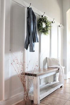 DIY Board and batten tutorial for a Modern Farmhouse Mudroom or entryway. I've shared an easy tutorial on how to create your own board and batten. Apartment Entryway, Entryway Decor, Entryway Ideas, Entry Foyer, Hallway Ideas, Front Entry, Coastal Entryway, Hallway Designs, Modern Entryway