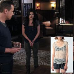 Recycling! Spencer wore this lace tee during Season one in the same blue color. Unfortunately, U.O. only has it in Ivory.    Kimichi Blue - Lace Tee - $19.99