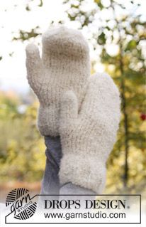 "Knitted DROPS basic mittens in ""Alpaca Boucle"". ~ DROPS Design"