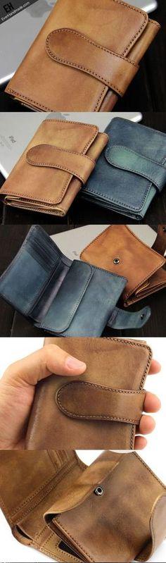 Handmade men short leather wallet men vintage green brown short wallet for him