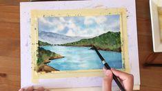 Aquarell Video Tutorial - Seeszene 🏞️ - My collection - music Watercolor Landscape Tutorial, Watercolor Video, Watercolor Landscape Paintings, Watercolor Tips, Watercolour Tutorials, Watercolor Illustration, Step By Step Watercolor, Beach Watercolor, Watercolor Paintings For Beginners