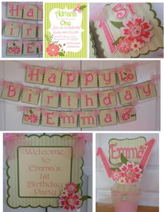 Coral Floral Girls 1st Birthday Party by ASweetCelebration on Etsy