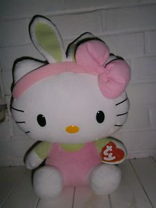 Hello kitty white pink green ty soft toy large girl RRP £16.99 | eBay