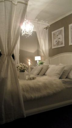 Romantic Bedroom With Canopy Bed And Comfy Fur Throw Couple Bedroom, Cozy  Bedroom, White