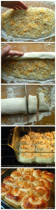Cheese Pinwheel Rolls Ingredients: 1 ball pizza dough 2 Tbls. butter 1 – 1 1/2 cups shredded cheese Parmesan cheese, grated kosher salt freshly cracked black pepper garlic powder  See full instructions on : thehungrymouse.com