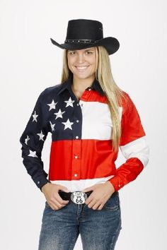 Women'S Stars An Stripes Old West Roper Western Cowboy Rodeo Cowgirl Shirt