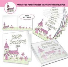 Personalised First Communion Invitations - Girls Pink Church -  Personalized Communion  Invites for Daughter