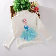 Отворот волнистым краем хлопок мультфильм замороженные Эльза Принцесса играть осенью свитер и Эльза Футболка София праймер пальто-Таобао