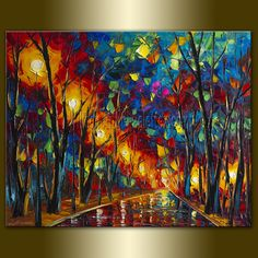 Original Textured Palette Knife Landscape Painting Oil on Canvas Contemporary Modern Art Rainy Night 24X30 by Willson Lau. $265.00, via Etsy.