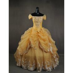Deluxe Beauty and the Beast Belle Adult Cosplay Costume Gown Dress ($650) ❤ liked on Polyvore featuring dresses, medieval, medieval gown, lace two piece and floral two piece