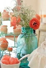 coral and turquoise party - Google Search