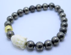 Pyrite and Buddha Mala  Energy Stack Stretch by ZardeniaJewelry