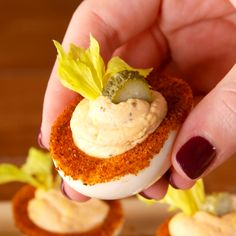 Everyone loves a good deviled egg, and few can refuse a well-made bloody Mary. With this easy party app, you can have both! Get the recipe at . Best Egg Recipes, Best Appetizer Recipes, Yummy Appetizers, Appetizers For Party, Cucumber Appetizers, Recipes With Eggs, Easy Recipes, Salami Appetizer, Individual Appetizers