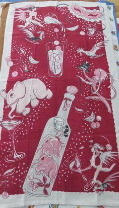 Vintage Kitchen Towel Deco Era Pink Elephants & Cocktails Party Time by randomretro on Etsy