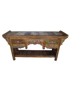 Asian Opium Coffee Table Flower Carvings Drawer Handmade Bali - Bali sourcing recycle wood ready for furniture manufacturing