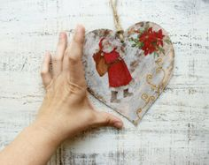 Set of 3 wooden Christmas ornaments Christmas por HandyHappyHearts