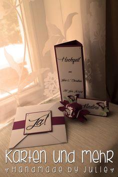 Karten und mehr ... * Handmade by Julie * Hochzeitseinladung, Namensschild, Menükarte, Stampin' Up!