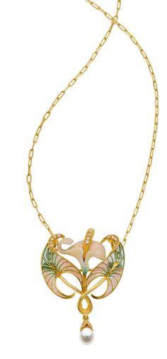 Masriera Diamond, Cultured Pearl, Enamel Pendant-Brooch-Necklace 18k gold with a cultured pearl, diamonds and plique-à-jour enamel.
