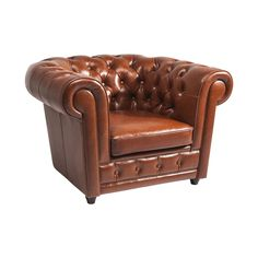 Oxford Bycast Leather Cognac Armchair • WOO Design