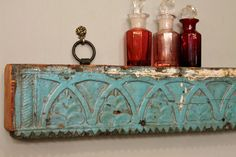 Light Blue Antique Distressed Hand Carved Indian Architectural Element Hanging Wall Shelf. $239.00, via Etsy.